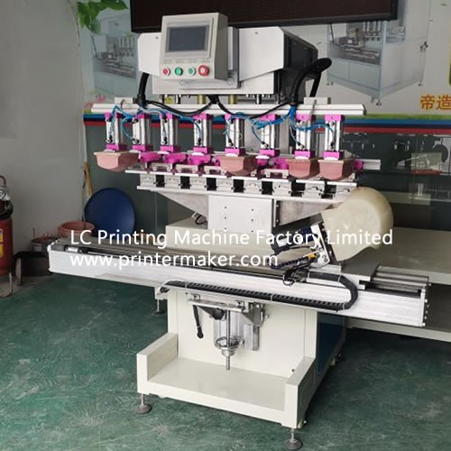 8-color ink cup pad printer with 8 independent pads head with servo table