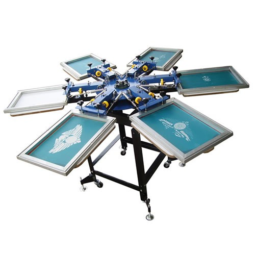 Manual Rotating Screen Printer with 6 Colors 6 Station